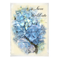 Blue Hydrangea Flower Wedding Announcement