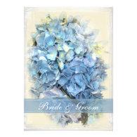 Blue Hydrangea Flower Wedding Invitation