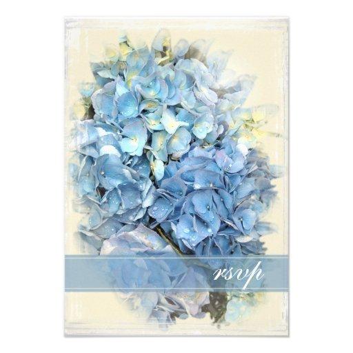 Blue Hydrangea Flower Wedding Response Card Announcements