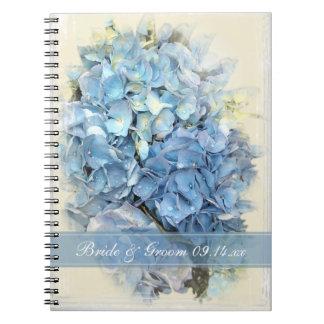 Blue Hydrangea Flower Wedding Spiral Note Books