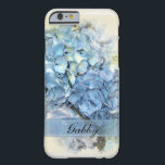 """Blue Hydrangea Flowers Barely There iPhone 6 Case<br><div class=""""desc"""">Keep your cell phone safe from drops and bumps with a pretty personalized Blue Hydrangea Flowers Phone Case. This classy custom flowery device case features a digitally enhanced close up floral photograph of a blue hydrangea flower blossom. It makes a perfect gift idea for a flower lover, gardener or florist....</div>"""