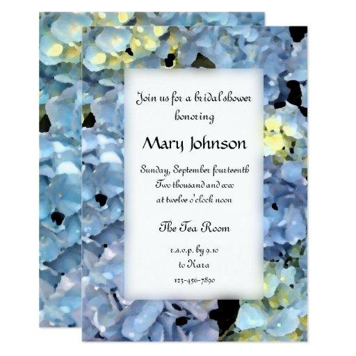 Blue Hydrangea Flowers Bridal Shower Invitation | Zazzle