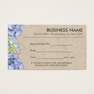 Blue Hydrangea Flowers Burlap Appointment Business Card
