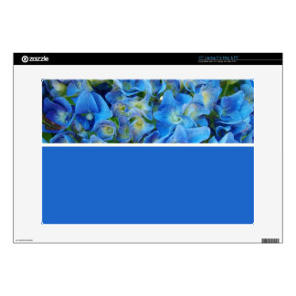 "Blue hydrangea flowers. Floral photography. Decals For 15"" Laptops"