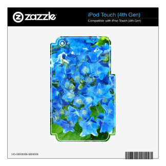 Blue hydrangea flowers. Floral photography. Nature iPod Touch 4G Skin