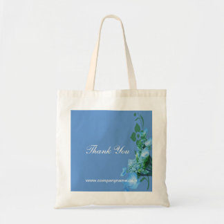 blue hydrangea flowers in blue background budget tote bag