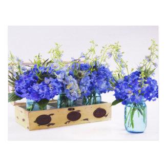 Blue Hydrangea Flowers In Vintage Box Postcard
