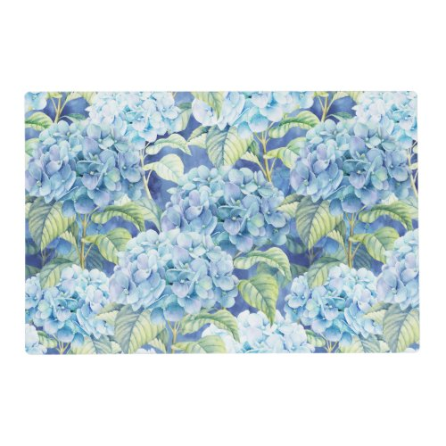 Blue Hydrangea Flowers Laminated Paper Placemat