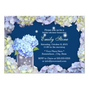 Blue Hydrangea Flowers & Mason Jar Bridal Shower Cards