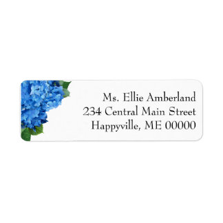 Blue Hydrangea Flowers Skinny Return Address Label