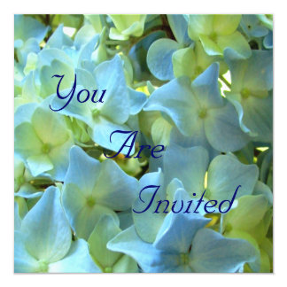 Blue Hydrangea Flowers You Are Invited 5.25x5.25 Square Paper Invitation Card