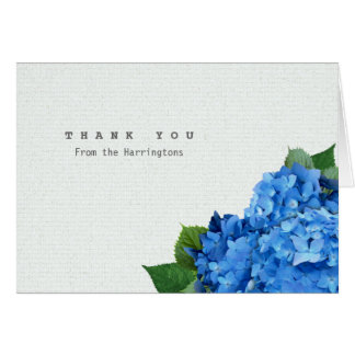 Blue Hydrangea Folded Personalized Thank You Notes Stationery Note Card