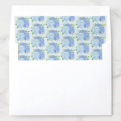 Blue Hydrangea Foliage Watercolor Floral Envelope Liner