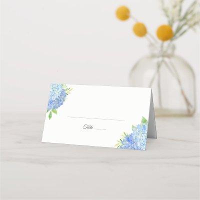 Blue Hydrangea Foliage Watercolor Floral Wedding Place Card