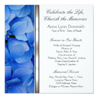 Blue Hydrangea Funeral Announcements  Invitation To A Funeral