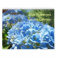 Blue Hydrangea Garden Calendar Floral Botanical