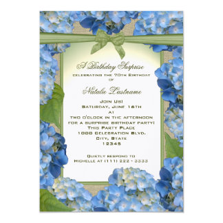 Blue Hydrangea Garden Party Birthday Card