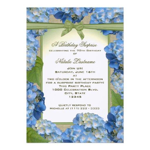 Blue Hydrangea Garden Party Birthday Custom Invite