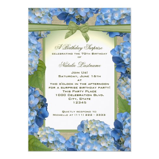 blue hydrangea garden party birthday invitation zazzle com