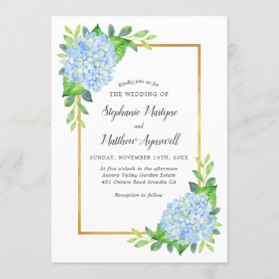 Blue Hydrangea Gold Border Watercolor Wedding Invitation