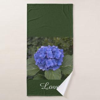 Blue Hydrangea Green Leaves Bath Towel Set