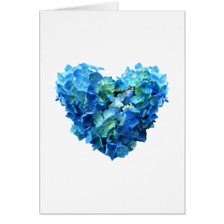 Blue Hydrangea Heart Greeting Cards