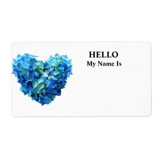 Blue Hydrangea Heart Label