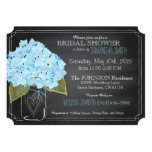 Blue Hydrangea Jar Chalkboard Bridal Shower Card