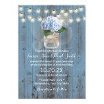 Blue Hydrangea Jar Dusty Blue Barn Wood Wedding Invitation
