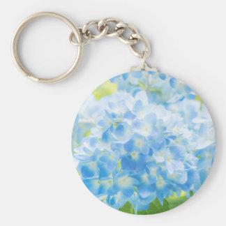 Blue Hydrangea Basic Round Button Keychain