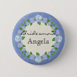 Blue Hydrangea Lace Floral Formal Bridesmaid Badge Button