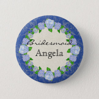 Blue Hydrangea Lace Floral Formal Bridesmaid Badge Pinback Button