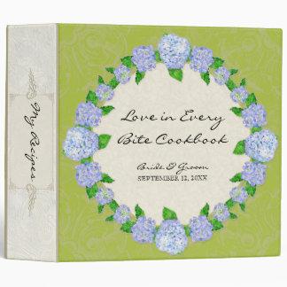 Blue Hydrangea Lace Floral Formal Elegant Weddings 3 Ring Binder