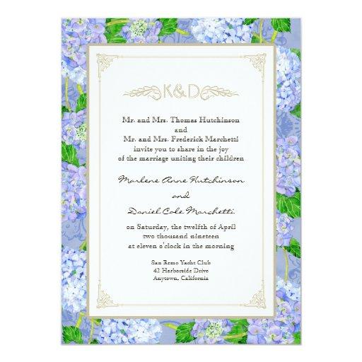 Blue Hydrangea Lace Floral Formal Elegant Weddings Card