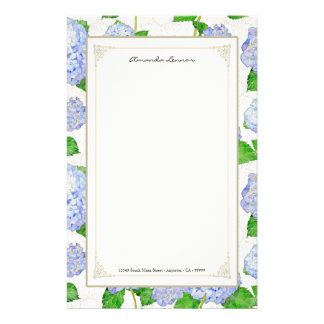 Blue Hydrangea Lace Floral Formal Elegant Weddings Stationery