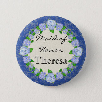 Blue Hydrangea Lace Floral Formal Maid of Honor Pinback Button