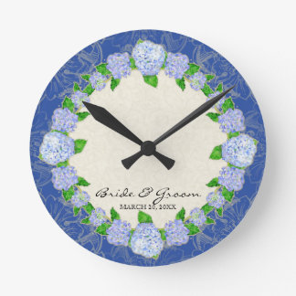 Blue Hydrangea Lace Floral Formal Wedding Gift Round Clock