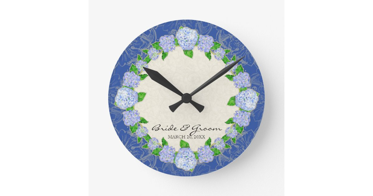 Wedding Gift Clock: Blue Hydrangea Lace Floral Formal Wedding Gift Round Clock