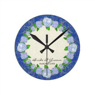 Blue Hydrangea Lace Floral Formal Wedding Gift Round Wallclock