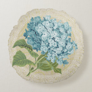 Blue hydrangea & lace floral vintage pillow