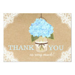 Blue Hydrangea Lace Kraft Modern Rustic Thank You Card
