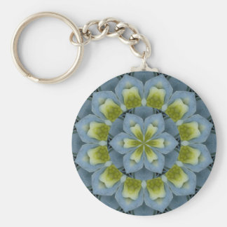 Blue Hydrangea Mandala Image 2 Basic Round Button Keychain
