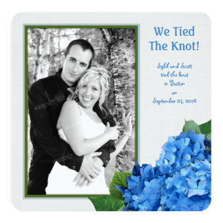 Blue Hydrangea Marriage Announcement Photo Card