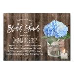 Blue Hydrangea Mason Jar Barn Wood Bridal Shower Invitation