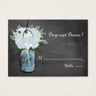 Blue Hydrangea Mason Jar Chalkboard | Seating Card