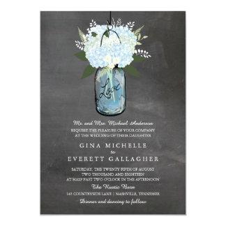 Blue Hydrangea Mason Jar Chalkboard   Wedding Card