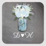 Blue Hydrangea Mason Jar Chalkboard | Wedding Square Sticker