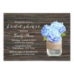 Blue Hydrangea Mason Jar Wood Bridal Shower Invitation