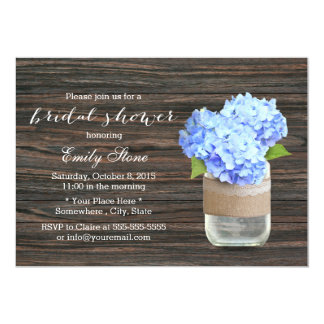 Blue Hydrangea Mason Jar Wood Bridal Shower 5x7 Paper Invitation Card