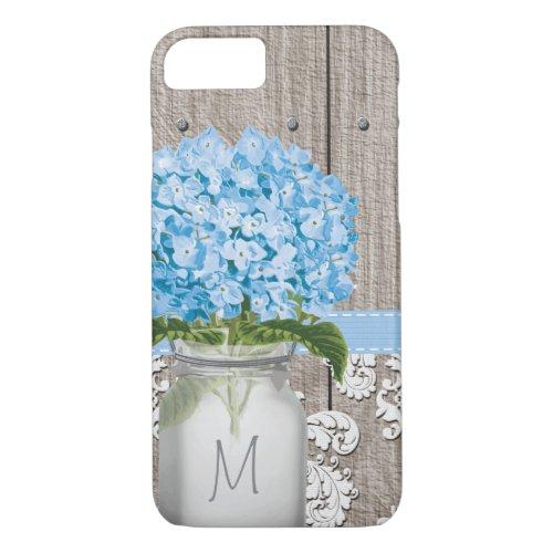 Blue Hydrangea Monogram Mason Jar Phone Case